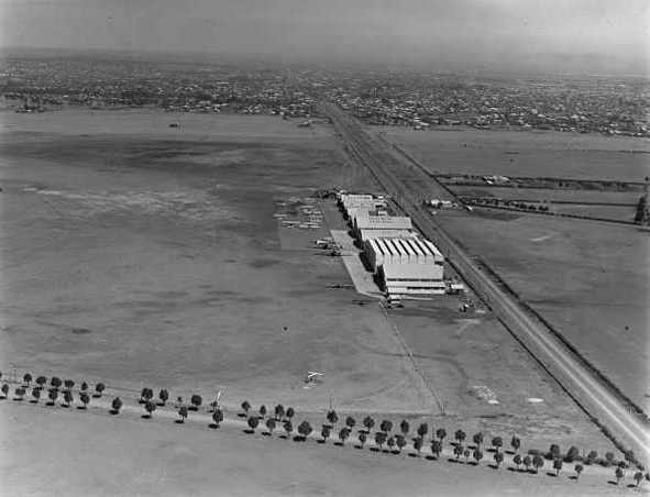 aerial view of old Essendon Fields in black and white